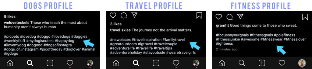 hashtags captions example posts cropped